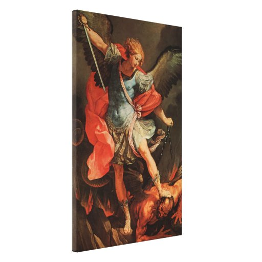 Saint Michael defeats Satan Canvas Print