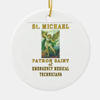 SAINT MICHAEL EMT ROUND CERAMIC ORNAMENT