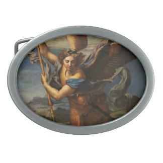 Saint Michael Vanquishing Satan Oval Belt Buckle
