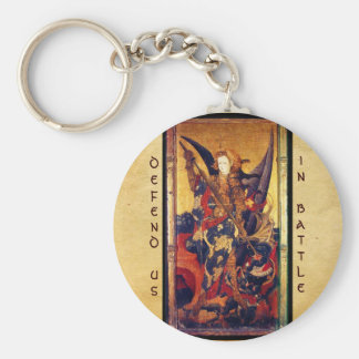 Saint Michael Vanquishing the Devil Basic Round Button Keychain