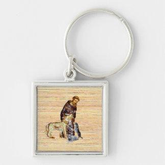 Saint/moine avec des animaux (religieux) porte-clé carré argenté