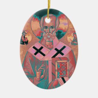 Saint Nicholas Icon Ceramic Oval Ornament
