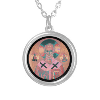 Saint Nicholas Icon Silver Plated Necklace