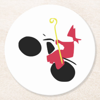 Saint Nicholas on engine Round Paper Coaster