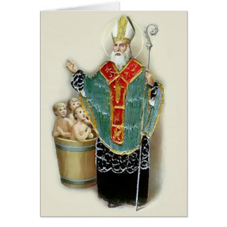 Saint Nicholas Rescuing Children Christmas Card