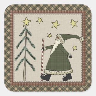 Saint Nick Holiday Scene Square Sticker