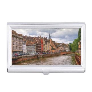 Saint-Nicolas dock in Strasbourg, France Business Card Holder