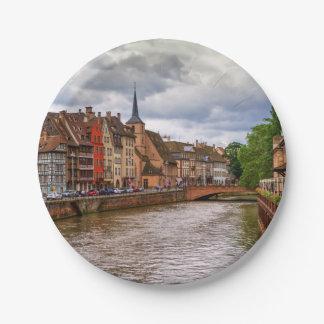 Saint-Nicolas dock in Strasbourg, France Paper Plate