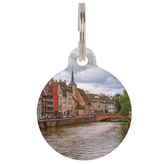 Saint-Nicolas dock in Strasbourg, France Pet ID Tag