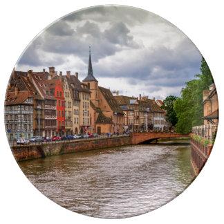 Saint-Nicolas dock in Strasbourg, France Plate