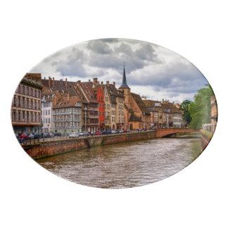 Saint-Nicolas dock in Strasbourg, France Porcelain Serving Platter