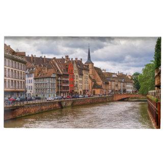 Saint-Nicolas dock in Strasbourg, France Table Card Holder