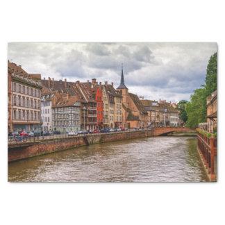 Saint-Nicolas dock in Strasbourg, France Tissue Paper