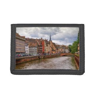 Saint-Nicolas dock in Strasbourg, France Tri-fold Wallets