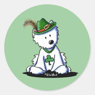 Saint Paddy s Westie Terrier Round Sticker