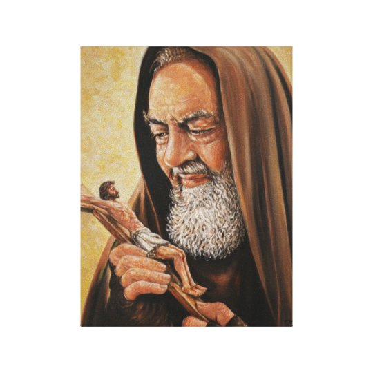 Saint Padre Pio Crucifix Jesus Priest Canvas Print