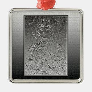 Saint Paraskeva [Sveta Petka] Silver-Colored Square Ornament