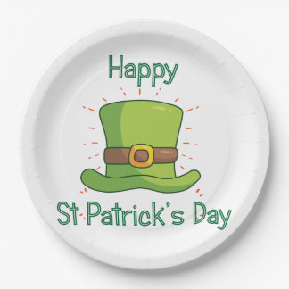 Saint Patrick Day Irish Green Top Hat Paper Plate