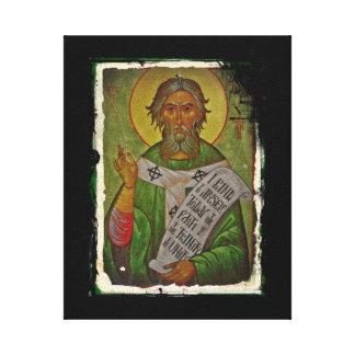 Saint Patrick Icon on Green Canvas Print
