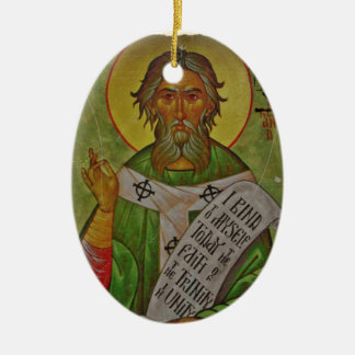 Saint Patrick Icon on Green Ceramic Ornament