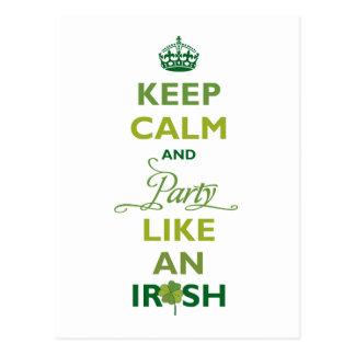 SAINT PATRICK Keep Calm And Party Like An Irish Postcard