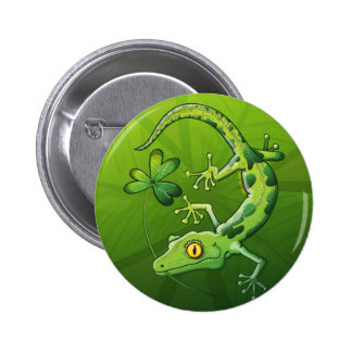 Saint Patrick s Day Gecko Pinback Buttons