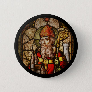 Saint Patrick Stained Glass Aged 2 Inch Round Button