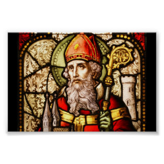 Saint Patrick Vintage Stained Glass Image Poster