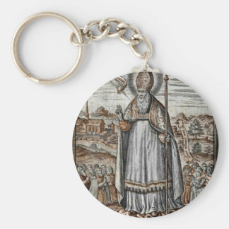 Saint Patrick with Snakes at His Feet Keychain