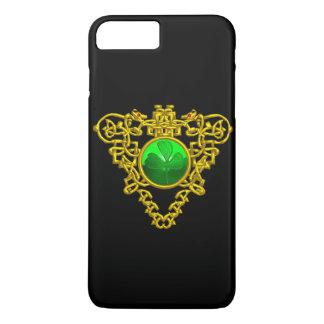 SAINT PATRICK'S CELTIC HEART SHAMROCK Gold Black iPhone 8 Plus/7 Plus Case