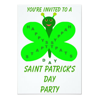 """Saint Patrick's Day Butterfly Party Customizable 5"""" X 7"""" Invitation Card"""