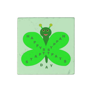 Saint Patrick's Day Butterfly Stone Magnet