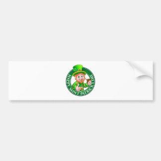 Saint Patricks Day Cartoon Leprechaun Sign Bumper Sticker