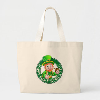 Saint Patricks Day Cartoon Leprechaun Sign Large Tote Bag
