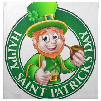 Saint Patricks Day Cartoon Leprechaun Sign Napkin