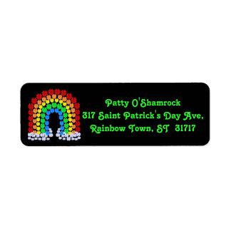 Saint Patrick's Day Clover Rainbow Return Address Label