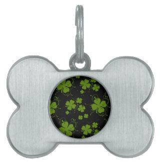 Saint Patrick's Day, Clovers, Swirls - Black Green Pet ID Tags