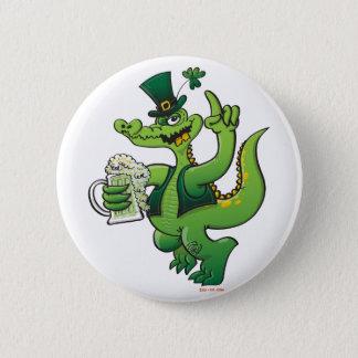 Saint Patrick's Day Crocodile Drinking Beer 2 Inch Round Button