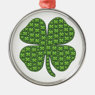 Saint Patricks Day Four Leaf Clover Good Luck Metal Ornament
