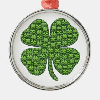 Saint Patricks Day Four Leaf Clover Good Luck Metal Ornament