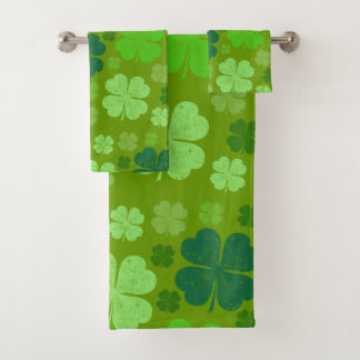 Saint Patrick's Day, Four Leaf Clovers - Green Bath Towel Set