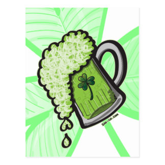 Saint Patrick's Day Glass of Beer Postcard