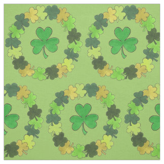 Saint Patrick's Day Green Shamrock Wreath Fabric