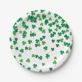 Saint Patrick's Day Irish Green Shamrock Clovers 7 Inch Paper Plate