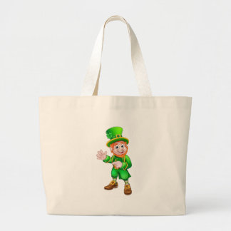 Saint Patricks Day Leprechaun Large Tote Bag