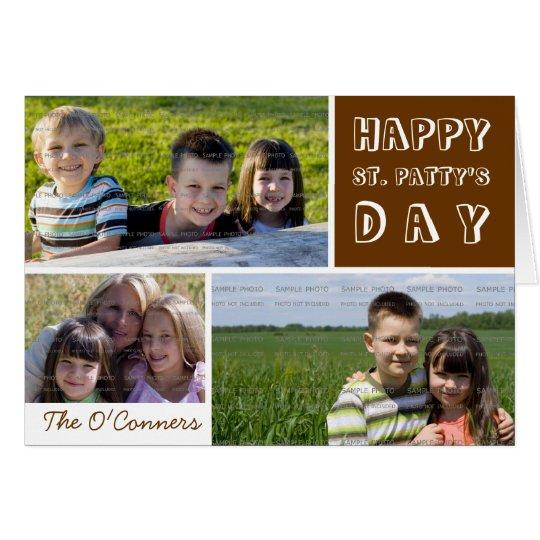 Saint Patricks Day Photo Collage Green Shamrock Card