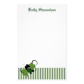 Saint Patricks Day Shamrock Personalized Customized Stationery