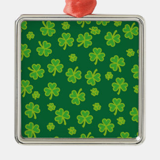 Saint Patrick's Day - Three Leaf Clovers Silver-Colored Square Ornament