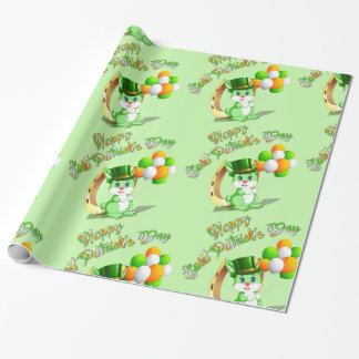 Saint Patrick's Green Bunny Cartoon Wrapping Paper