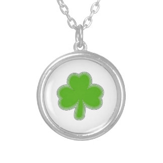Saint Patrick'S Shamrock Drawing Silver Plated Necklace